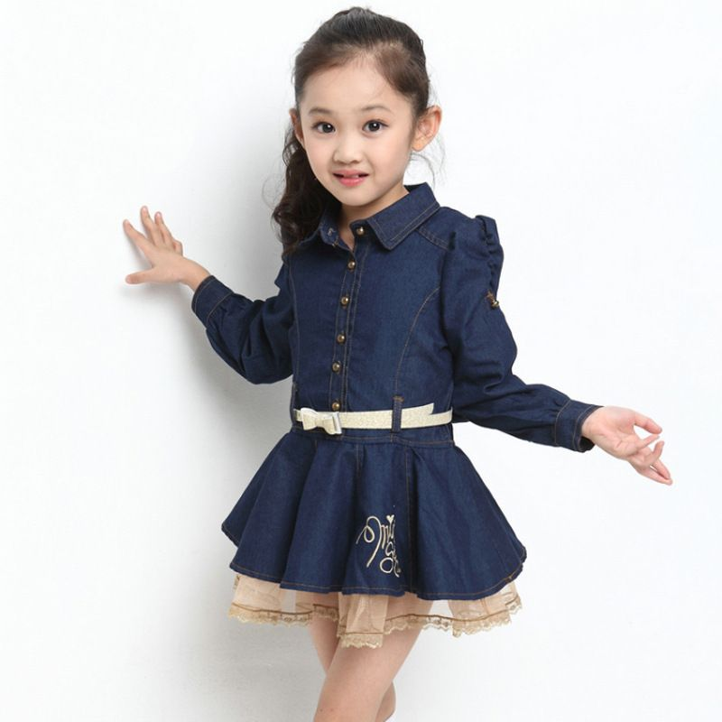 7376a4f930a9 One Piece England Style Girls Winter Dresses Fashion Jeans Lace Long ...