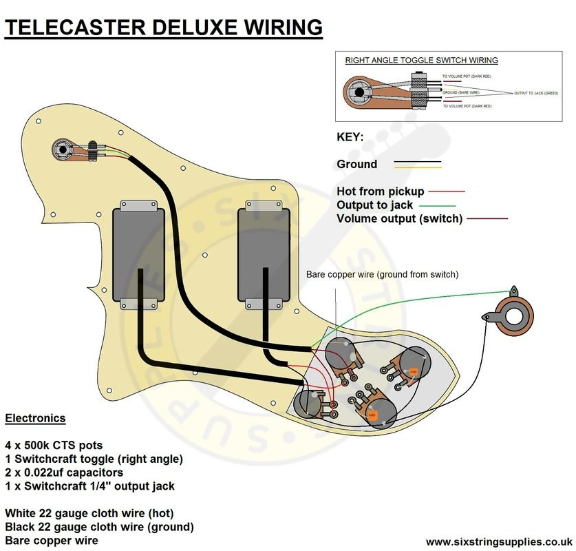 telecaster 72 deluxe wiring diagram electric guitars pinterest rh pinterest com 72 telecaster thinline wiring diagram 72 telecaster custom wiring diagram