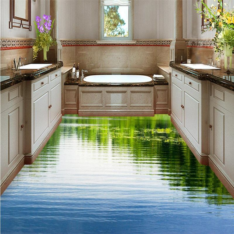 Custom Floor 3d Wallpaper Clear Lake Nature Bathroom Floor Mural 3d Pvc Wall Paper Self Adhesive Floor Painting Floor Murals Floor Wallpaper Painting Wallpaper