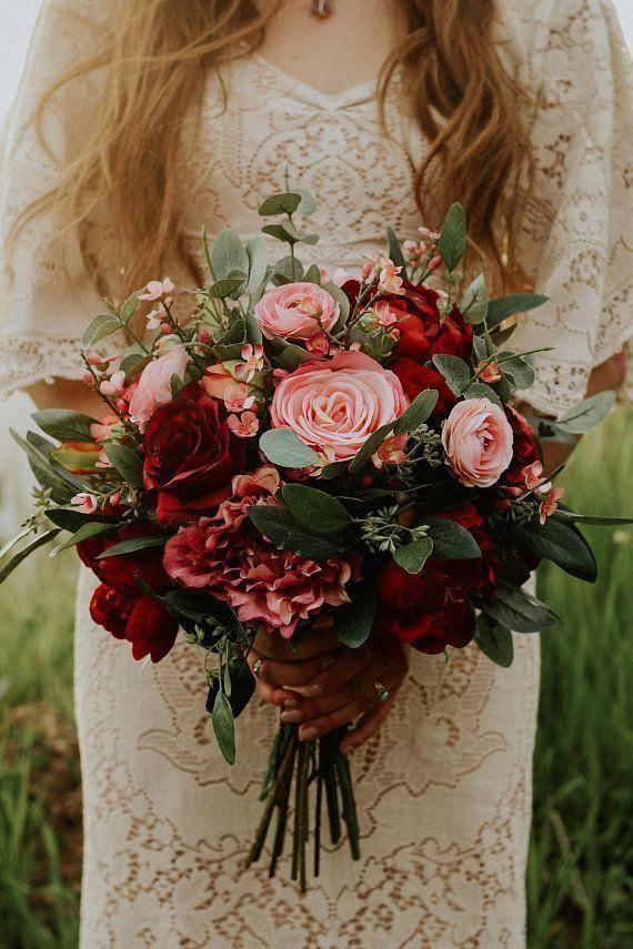 Hochzeitsstrauß Hochzeitsblumen Boho Bouquet Brautstrauß Pink Red Burgund … …