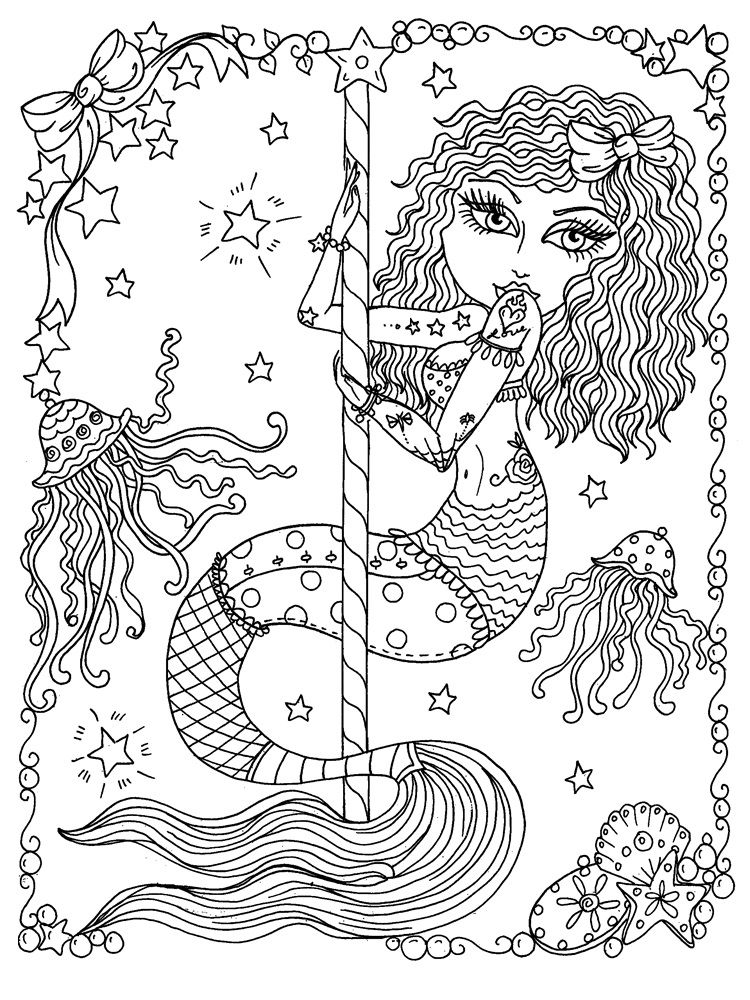 Deborah Muller Art Chubbymermaid Mermaid Coloring Pages Fairy