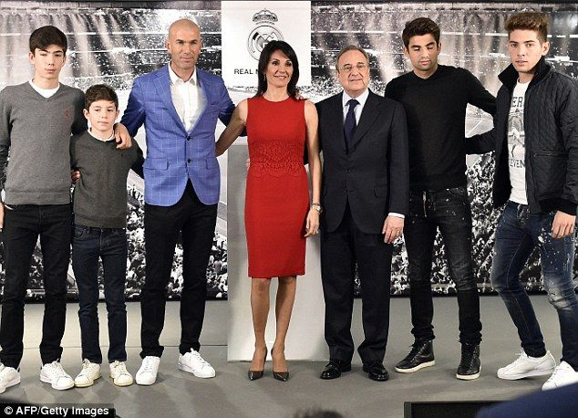 Zidane pictured with his family is facing the prospect of being as effective a manager as he was a player