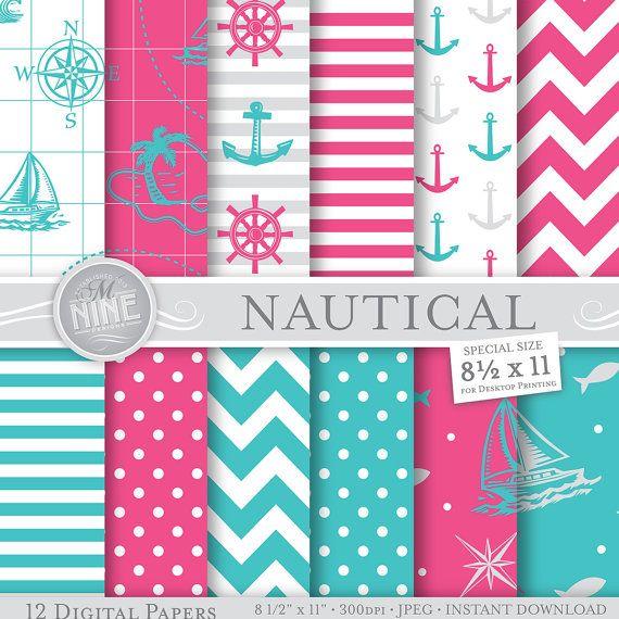 Pink Teal Nautical Digital Paper 8 1 2 X 11 Etsy Scrapbook Printing Digital Paper Printable Patterns