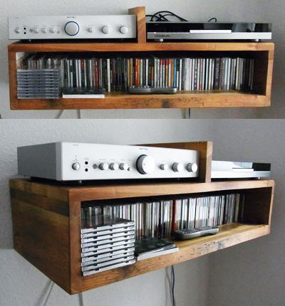 Hi Fi Shelf And Cd Storage From Recycled Floorboards Made
