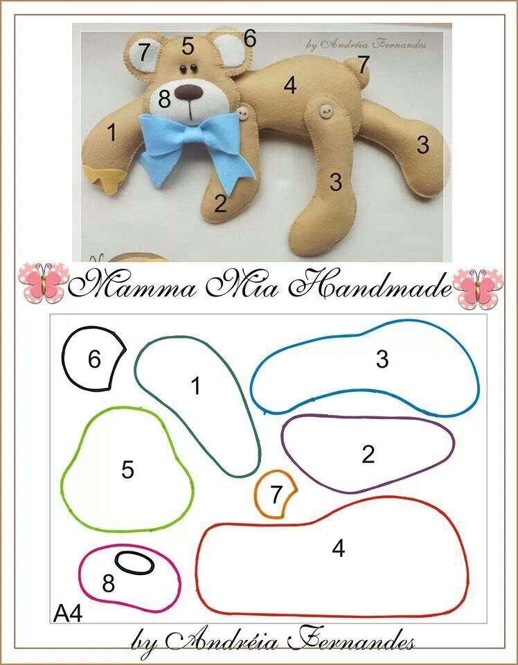 Bear pattern / template | moldes para moviles | Pinterest | Patrones ...