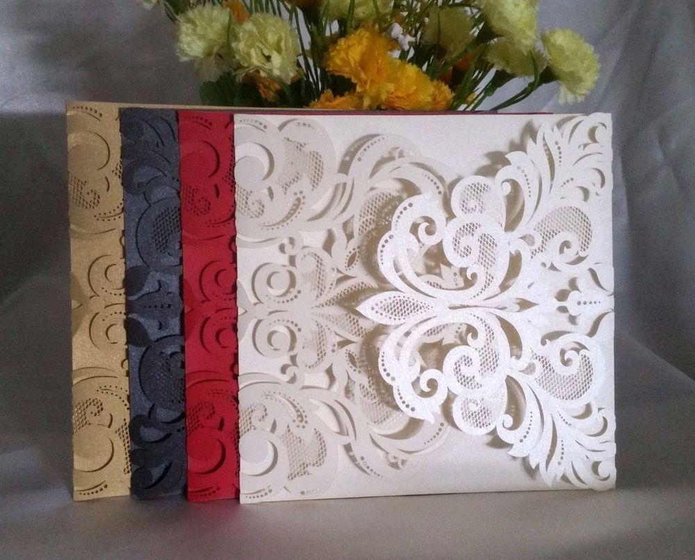 1 10 30 50 80 100 Pearl Ivory Laser Cut Wedding Invitations Card