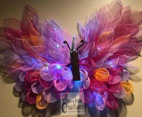 Photo of Beautiful butterfly wreath, large mesh wreath, pink wreath, purple wreath, custom baby shower gift, nursery wall decor girl, wall decor