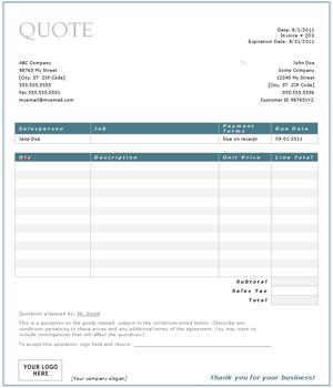 Free Construction Quote Template Free Contractor Estimate Form - Self employed cleaner invoice template