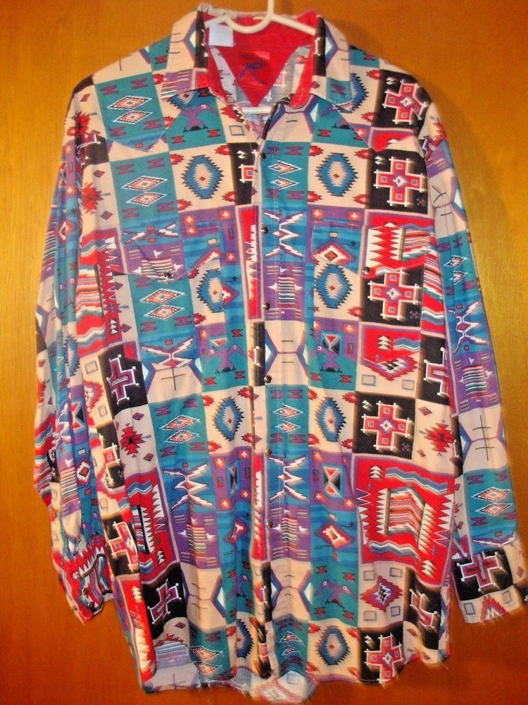 85683e4f Vintage Roper Southwestern Western Shirt mens Navajo Aztec Tribal L - XL # Roper #Western