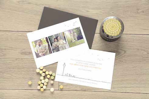 carte de remerciement mariage promesse champêtre (3 photos) by Marion Bizet pour www.rosemood.fr #wedding #merci