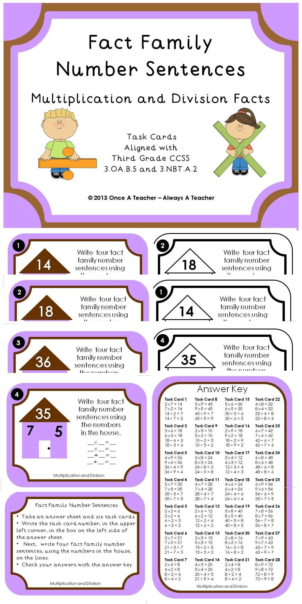 Task Cards Fact Family Number Sentences Multiplication
