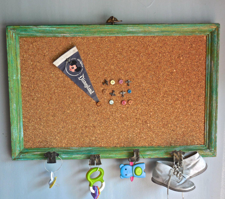 Cork Board Wall Organizer Accessorieschildrens Room Decorupcycled Framebutton Pushpinsdistressfun Metal