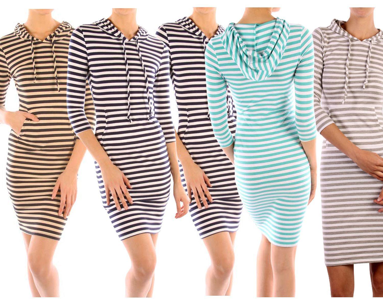 Casual stripe printed sleeve stretch bodycon hooded slim mini