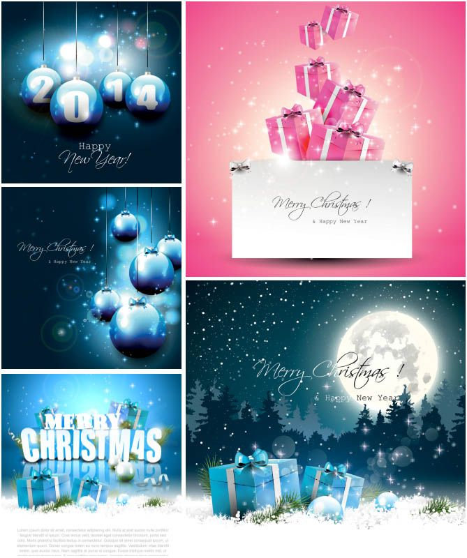 5 Vector Blue Christmas Card Designs With Christmas Ornaments, Presents,  Snow And Greetings. Can Be Used For Other Types Of Designs (holiday  Backgrounds,