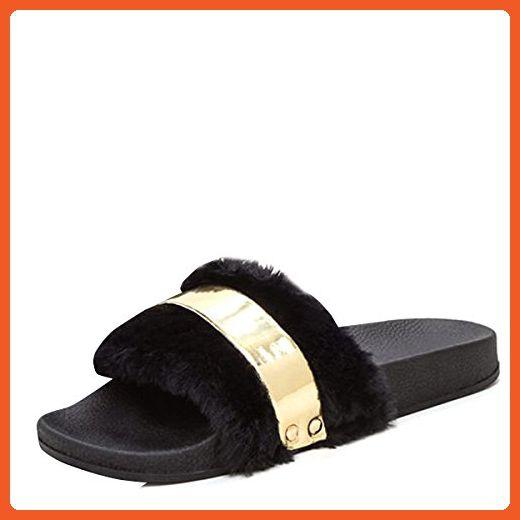 f0b55db7c76fb Bamboo Womens Open Toe Fur Slide Black Faux Flat Sandal Flip Flop ...