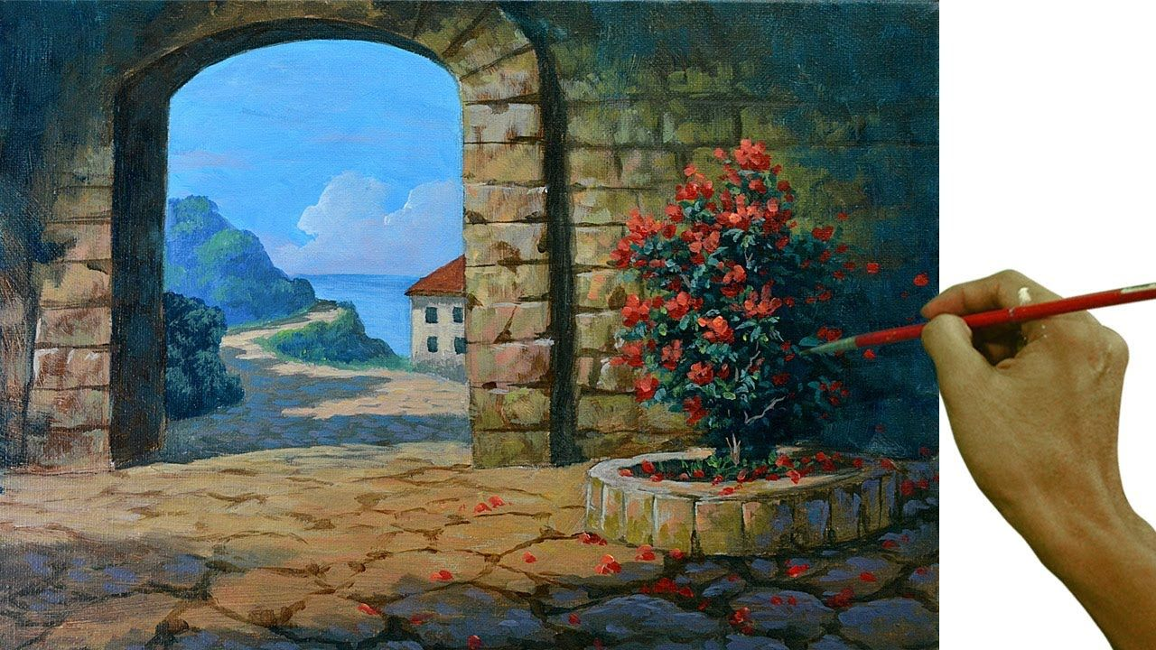 Acrylic Landscape Painting Tutorial Entrance To The Old City Youtube In 2020 Landscape Paintings Acrylic Landscape Paintings Landscape Painting Tutorial