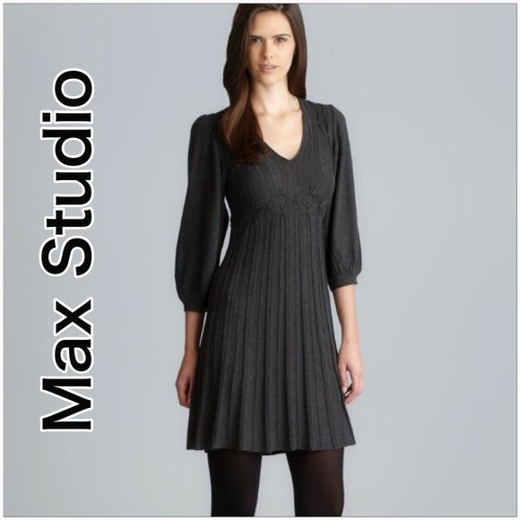 Max Studio Sweater Dress Charcoal color with pleating, stretchy with large slouchy sleeves. No flaws, cotton & rayon. Max Studio Dresses Mini