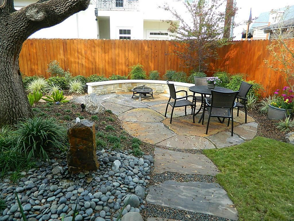 Furniture, : Fascinating House Backyard Decoration And Garden Design With  Stone Landscaping Design Ideas, Round Black Iron Outdoor Coffee Table And  Black ...