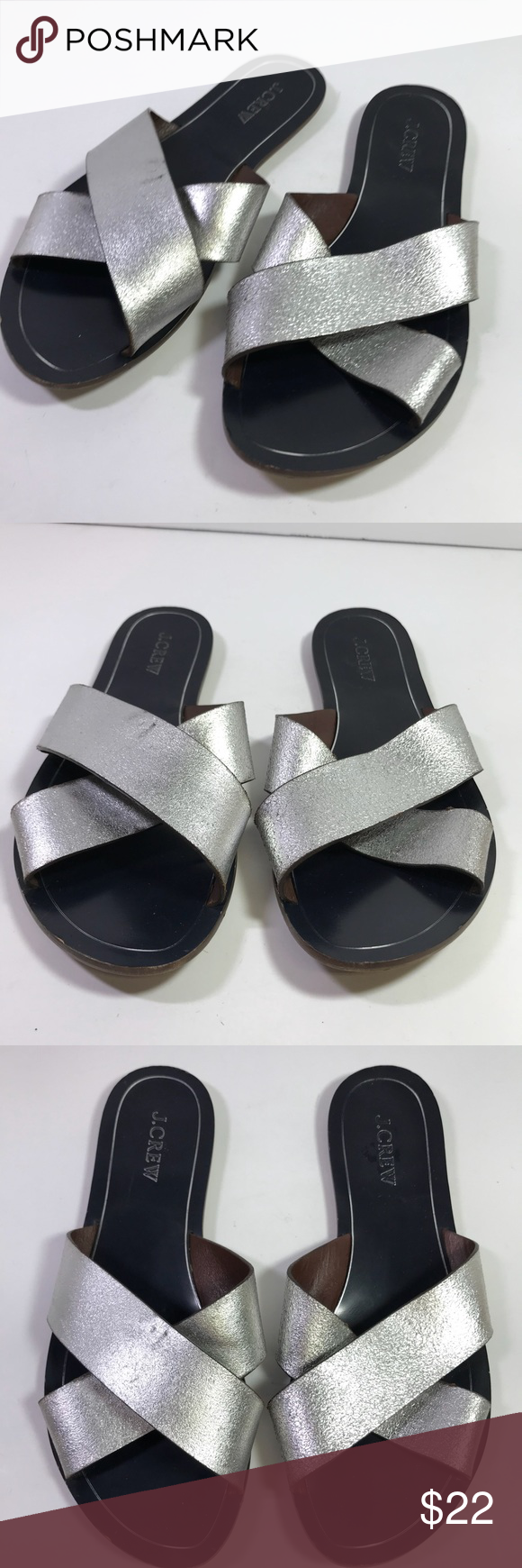 dbdce19f0 J.Crew Cyprus Metallic Silver Leather Sandals sz 9 J.Crew Cyprus Metallic  Silver Slide Sandals C1325 Made in Brazil Leather Size 9 J. Crew Shoes  Sandals