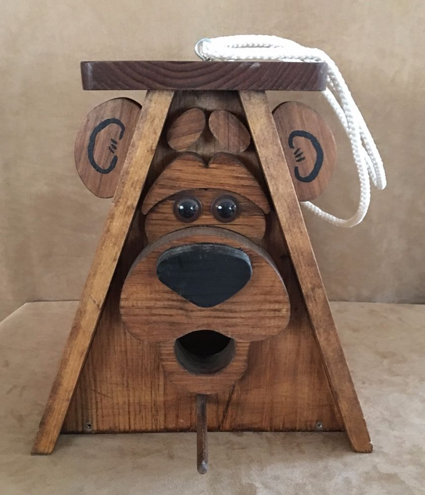 Bear Face Birdhouse Handmade Folk Art House Wooden wood E L F signed outdoor #Handmade