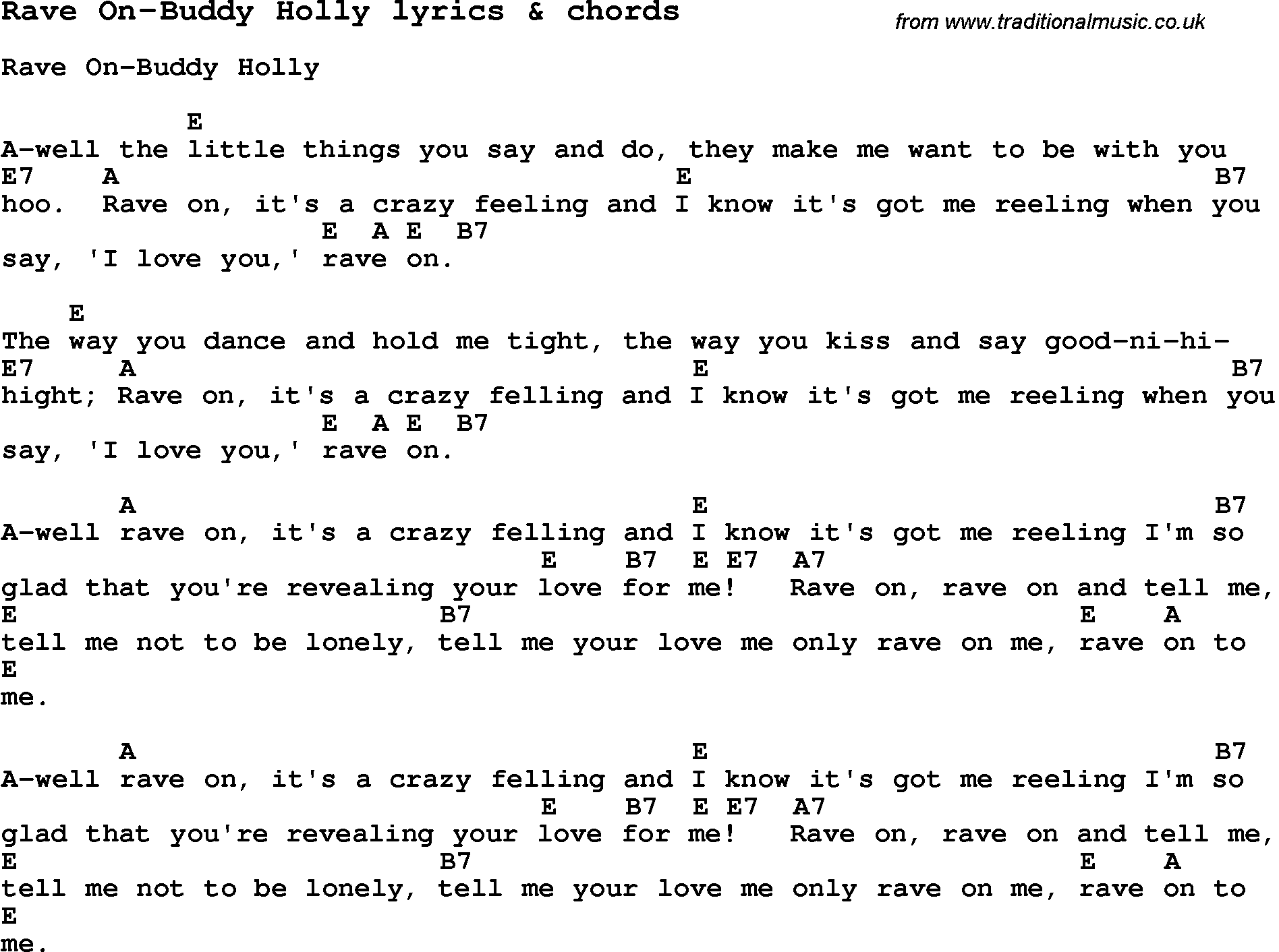 Images of buddy holly love song lyrics for rave on buddy holly love song rave on buddy holly with chords and lyrics for ukulele guitar banjo and other instruments hexwebz Gallery