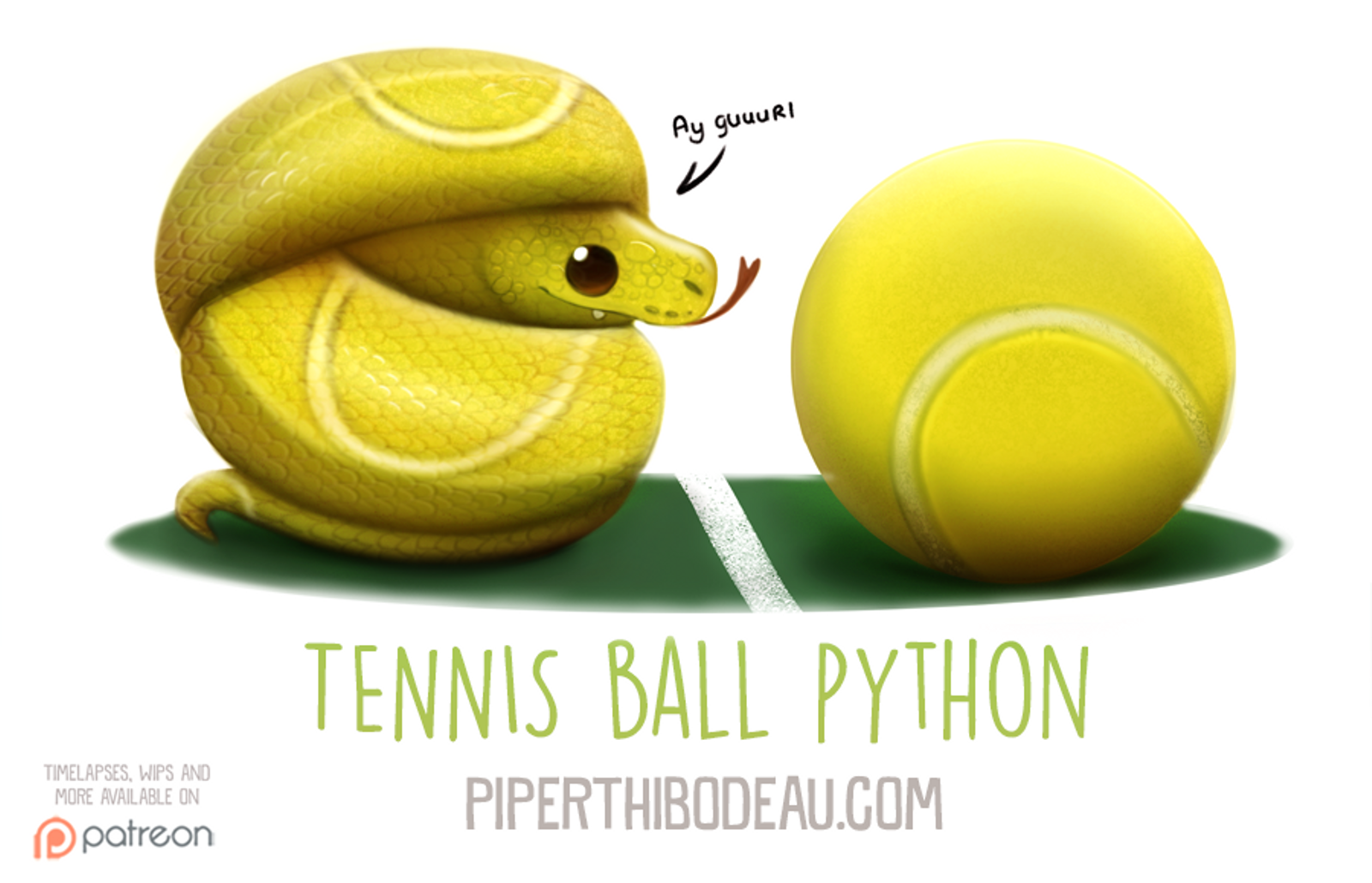 Daily Paint 1594 Tennis Ball Python Piper Thibodeau On Patreon Cute Animal Drawings Kawaii Cute Animal Drawings Cute Fantasy Creatures