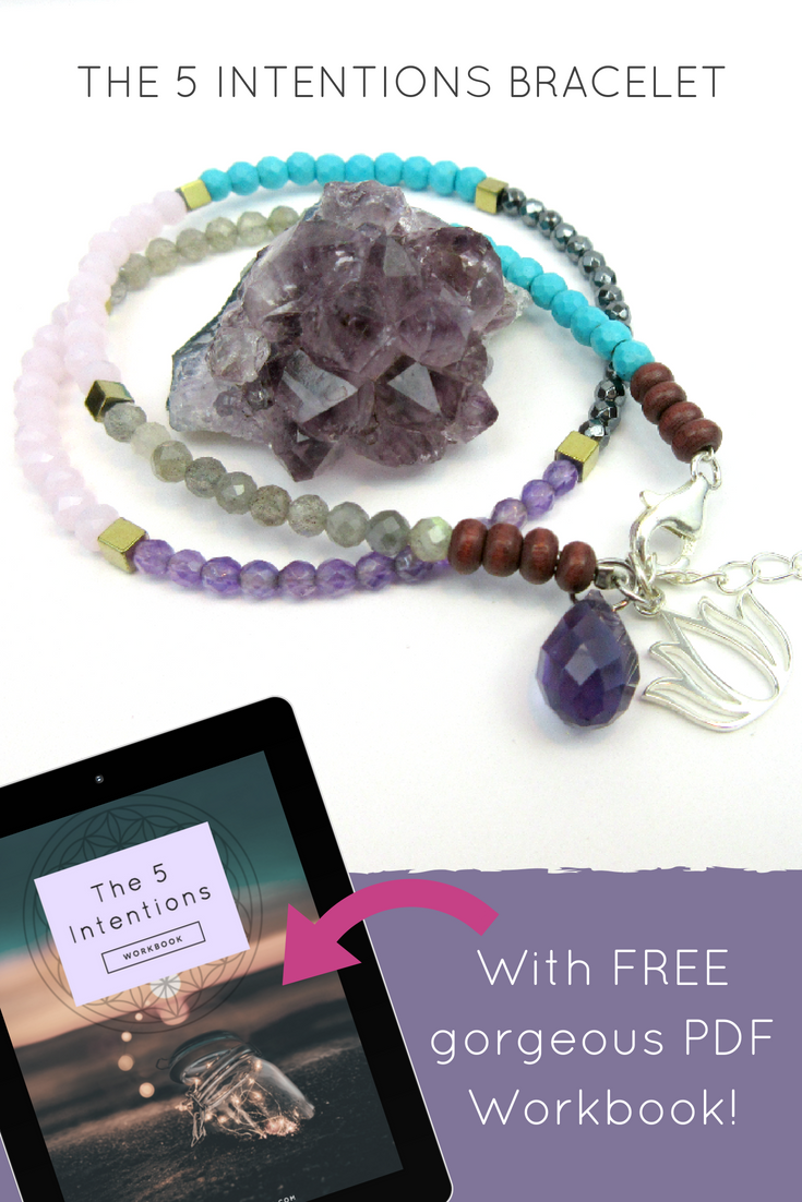 Customizable 5 Intentions Bracelet with FREE PDF workbook  Set your