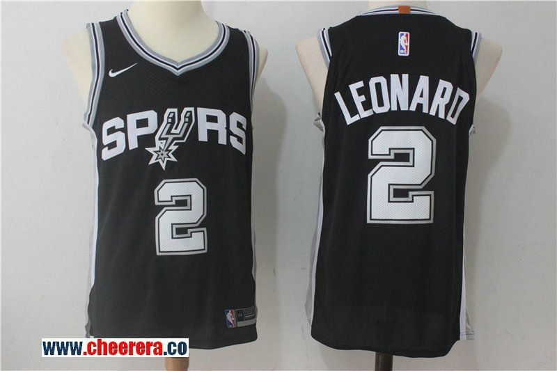 Men's San Antonio Spurs #2 Kawhi Leonard 2017-18 Nike Black Authentic Stitched NBA Jersey