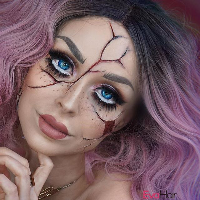 Cracked Doll Maureennaudts Awesome Want To Try This Pink Wavy Lob Wig For Your Halloween Cute Halloween Makeup Doll Makeup Halloween Creepy Halloween Makeup