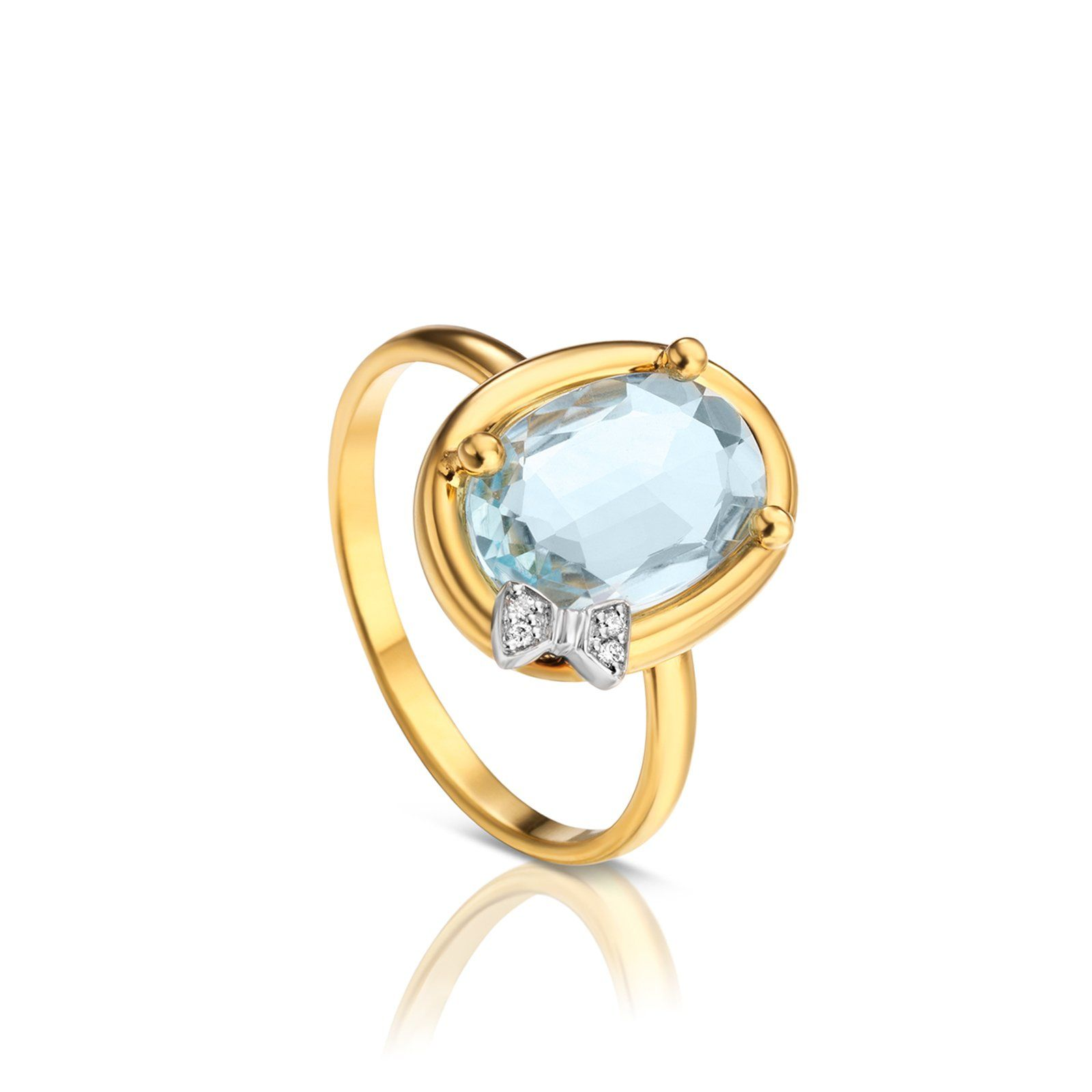 18kt yellow gold and topaz TOUS Dinah Round ring with 18kt white ...
