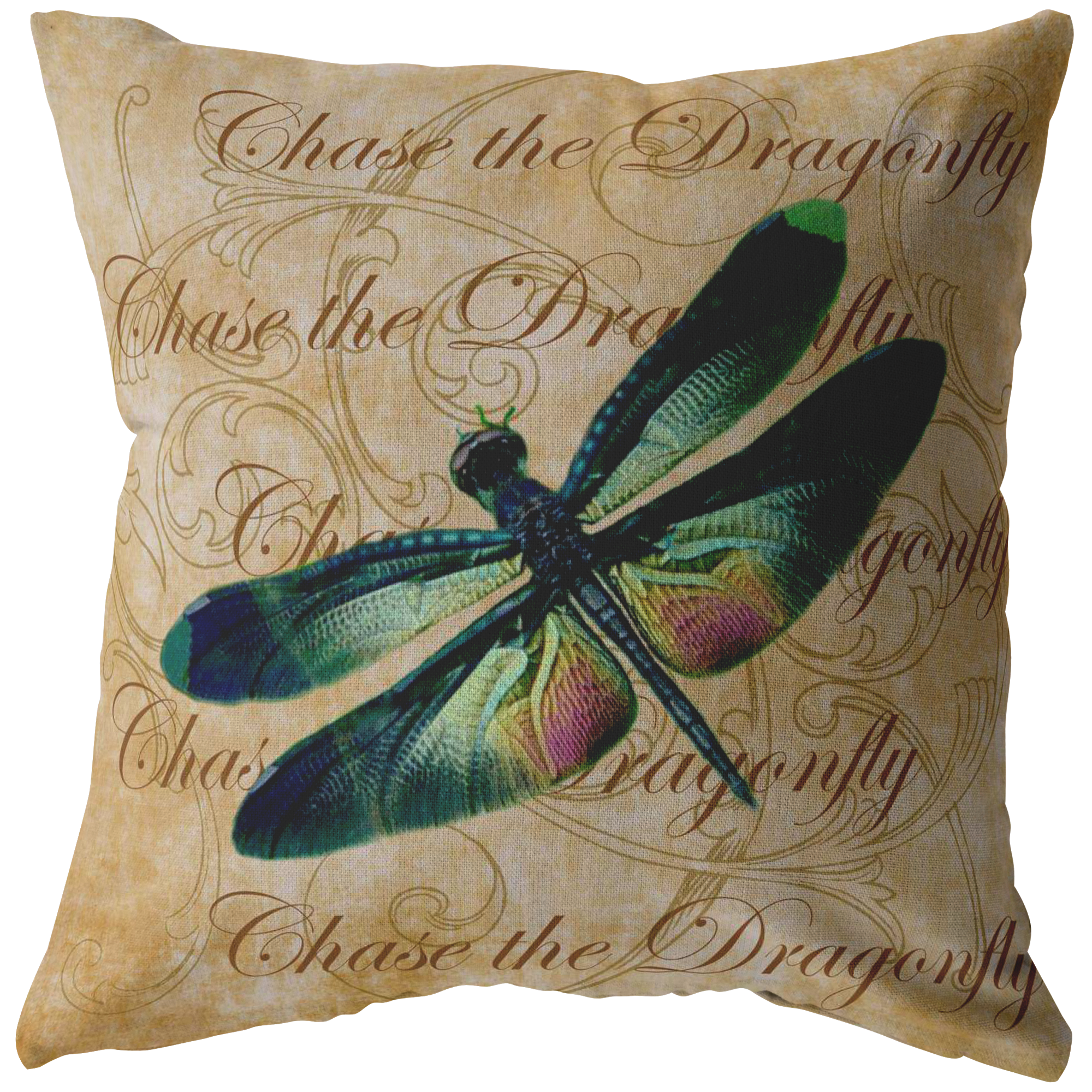 Green And Pink Dragonfly Digital Collage Throw Pillow Pink