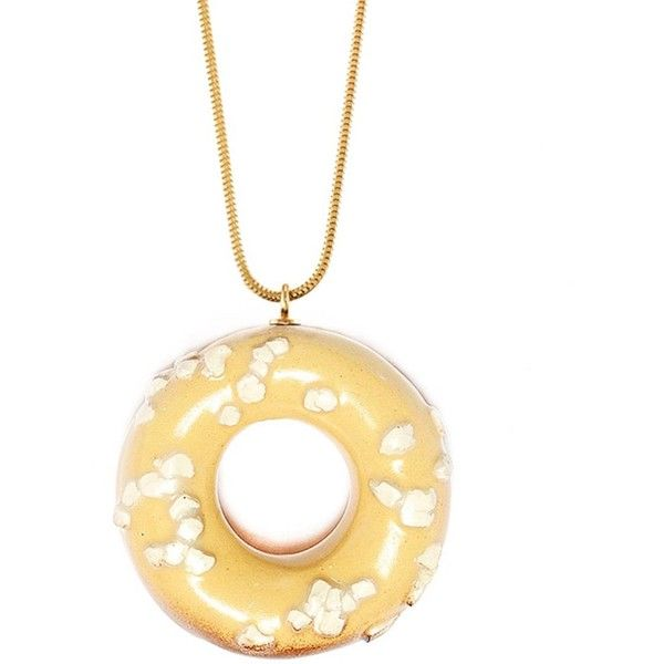 TADAM! Design - Doughnut with White Chocolate Sprinkles (Gold Chain) (£110) ❤ liked on Polyvore featuring jewelry, necklaces, gold pendant, white necklace, gold chain pendant, yellow gold chain necklace and white gold pendant