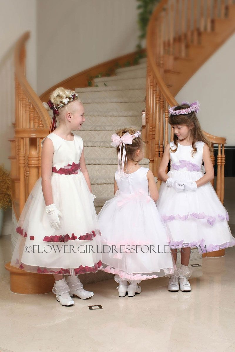 47b7d3f6d9d Flower Girl Dress Style 5151- Sleeveless Double Layer Satin And Tulle White  Petal Dress  49.99