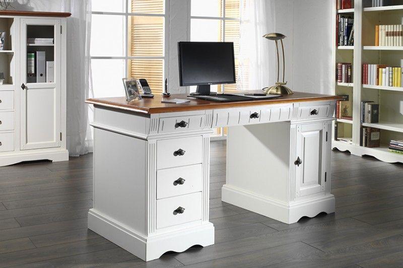 schreibtisch gotland pinie massiv holz computertisch b rotisch b ro cremewei schreibtische. Black Bedroom Furniture Sets. Home Design Ideas