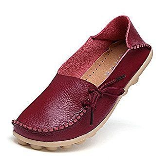 38d3b809fc4 Amaxuan Women s Leather Loafers Moccasins Wild Driving Casual Flats Oxfords  Breathable Shoes
