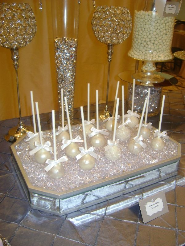 Pearl White Cake Pops In Mirrored Tray With Bling By Oc