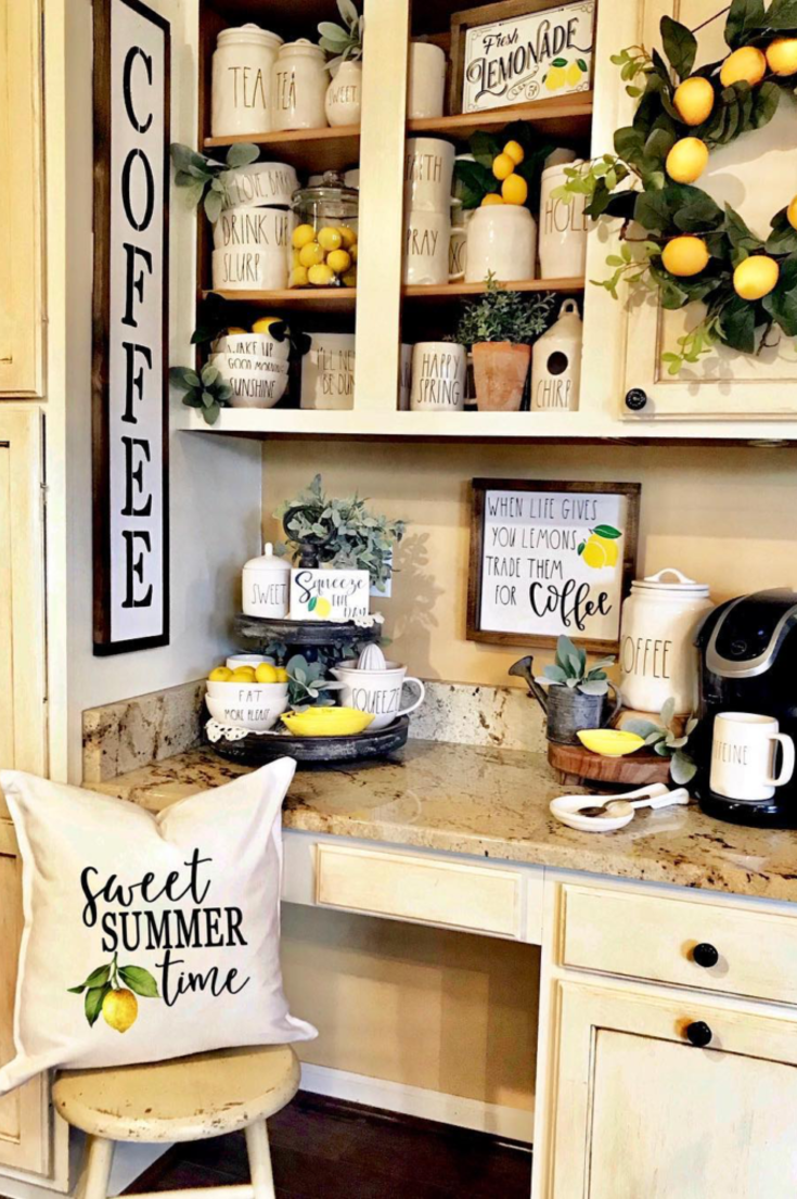 You Ll Love These Coffee Bar Ideas For The Home 2020 Coffee Bar Home Summer Home Decor Lemon Kitchen Decor
