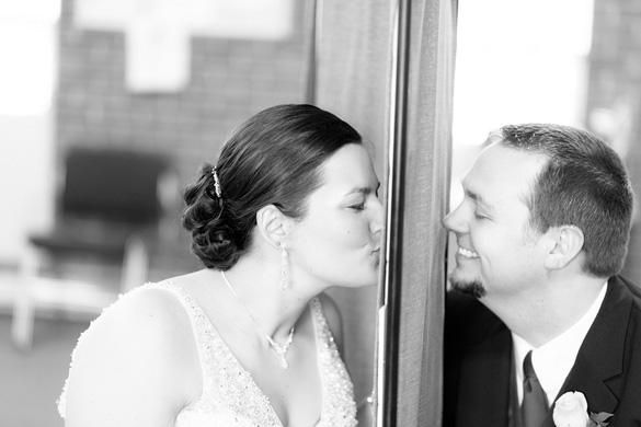 Bride And Groom Kissing First Look Wedding Photo