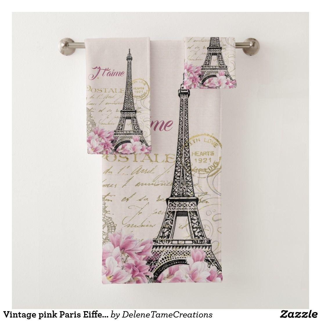 Vintage Pink Paris Eiffel Tower Romantic Collage Bath Towel Set Zazzle Com Pink Paris Eiffel Tower Romantic Paris Themed Bedroom