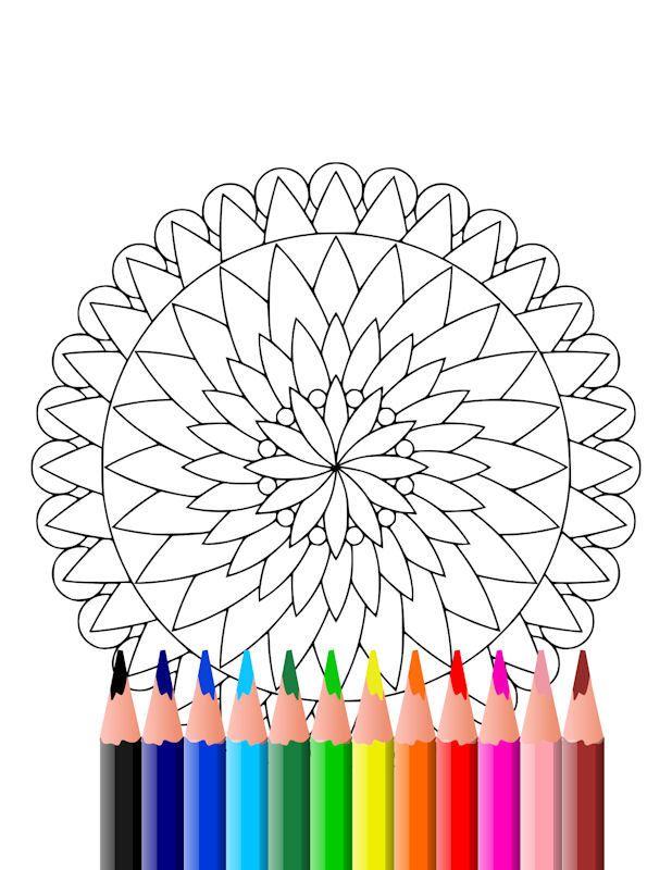Instant download printable mandala coloring page, simple mandala ...