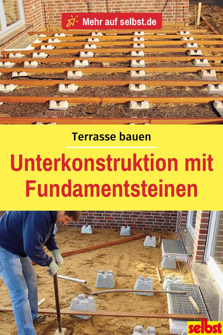 Holzterrasse bauen –1.Schritt: Unterkonstruktion aus Fundamentsteinen!