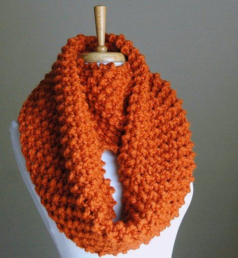 Infinity Scarf Pumpkin Orange Hand Knit Chunky Textured Pattern