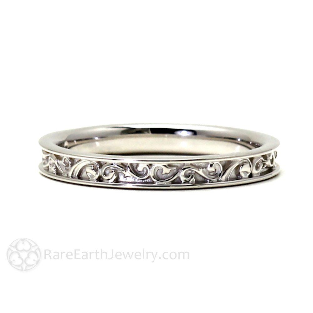 Art Deco Wedding Band Vintage Filigree Scroll; ALSO in ROSE GOLD $ 390.00