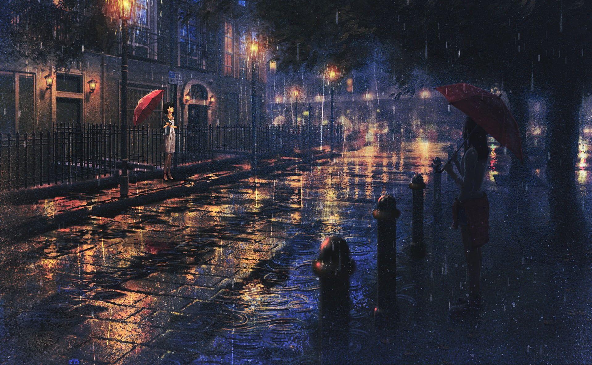 Anime Anime Girls Artwork Rain Umbrella 1080p Wallpaper Hdwallpaper Desktop Rain Wallpapers Anime Scenery Scenery Wallpaper