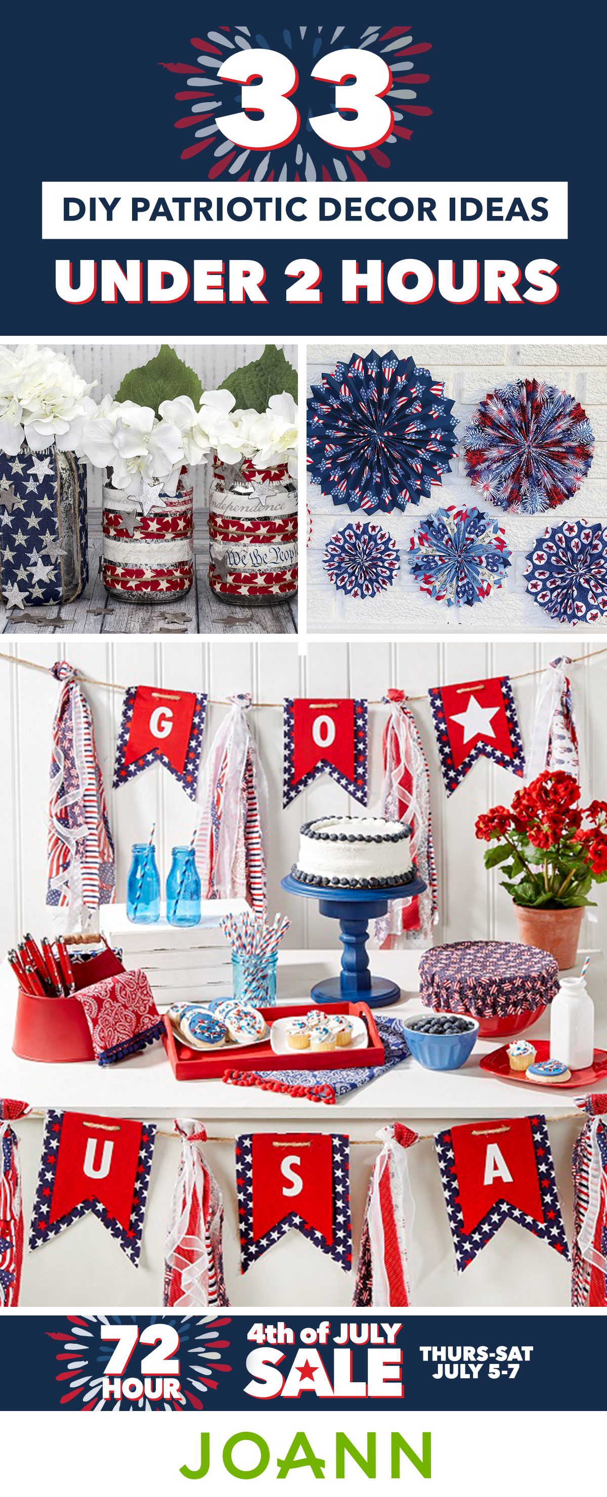 It S Time For A Celebration When You Pair These 33 Diy Patriotic Decor Ideas Under 2 Hours With T Patriotic Decorations Summer Crafts Joanns Fabric And Crafts