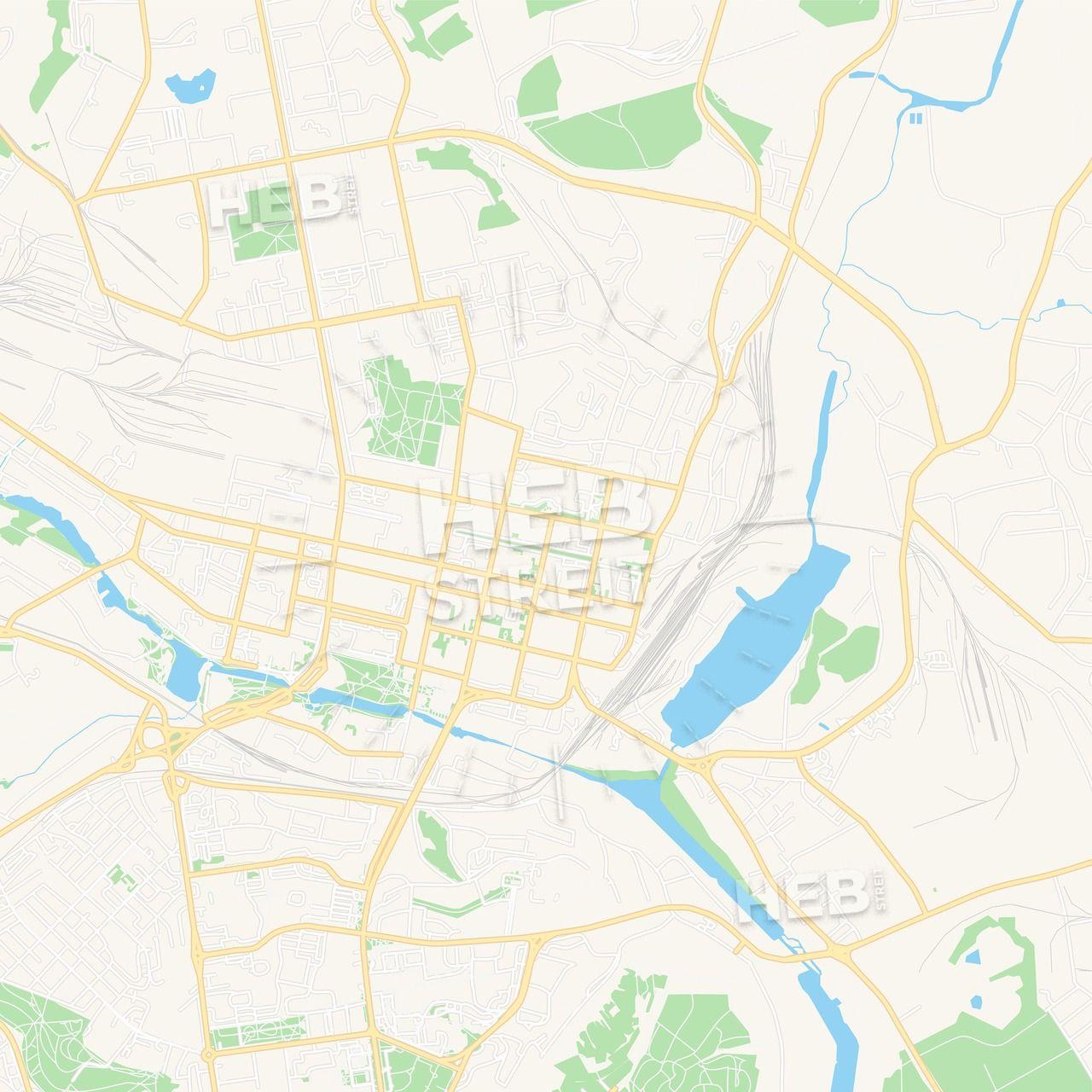 Kyzylorda, Kazakhstan Vector Map - Classic Colors   Maps Vector ...