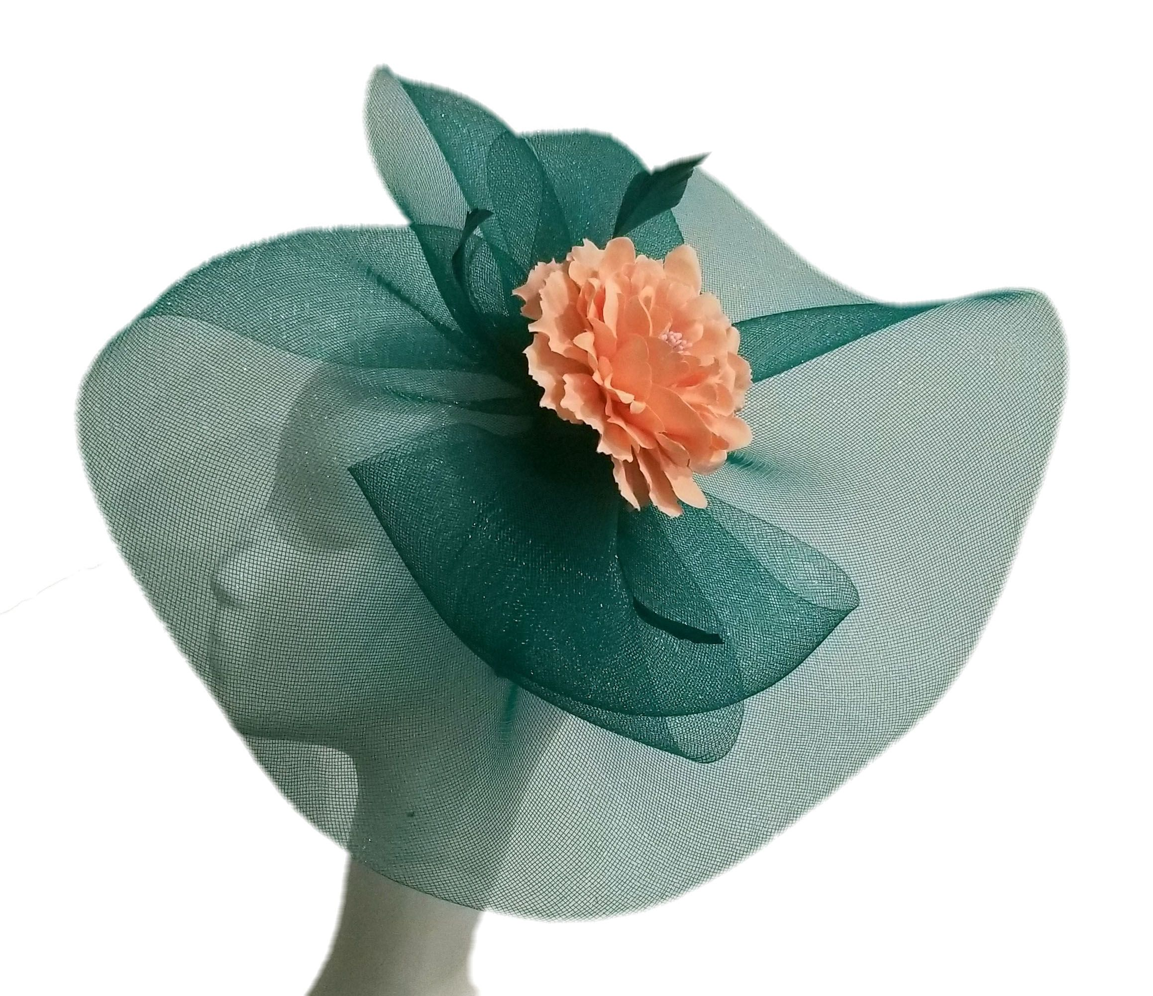 8e810957780f1 Green Mesh Fascinator with Peach Flower Detail Fascinator in 2019 ...