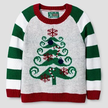 Ugly Christmas Sweater Toddler Boys' Mustache Christmas Tree ...