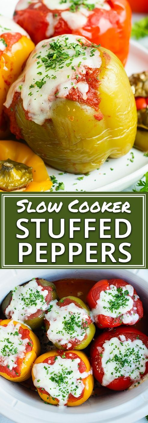 Photo of Crock Pot Stuffed Peppers Recipe with Ground Turkey and Rice