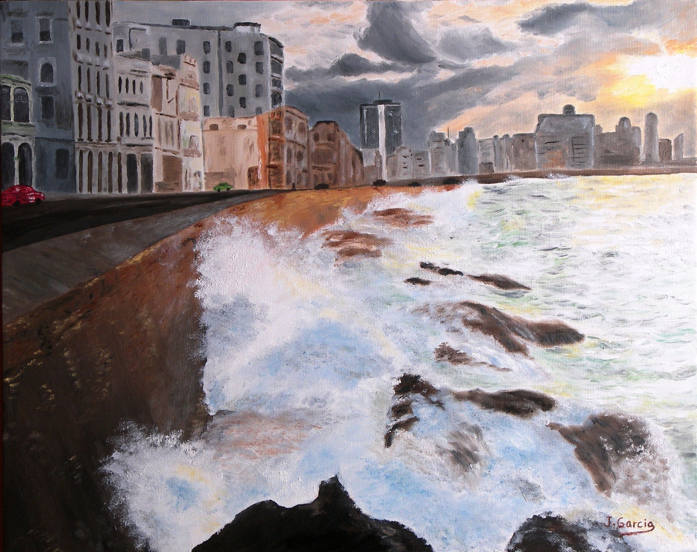 """Oil painting titled """"Havana Malecon, Cuba"""", done on a 16"""" x 20"""" x 1.5"""" canvas. Not available."""
